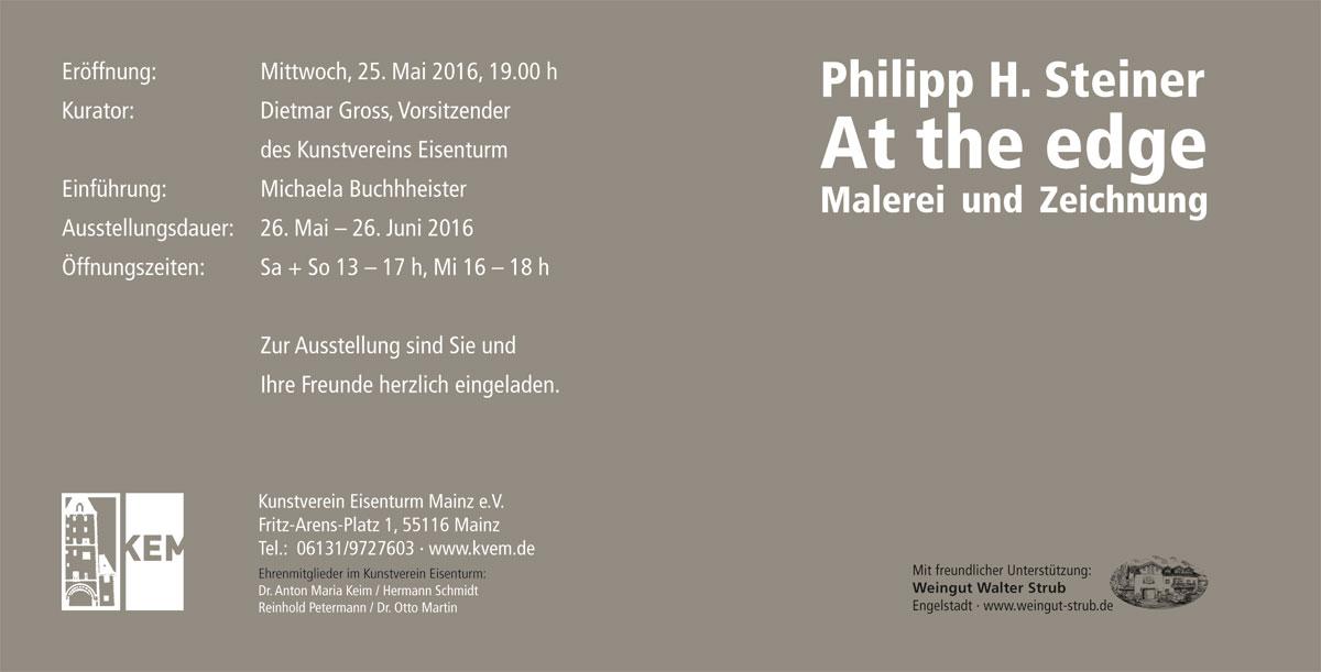 """Philipp H. Steiner """"At the edge"""" Kunstverein Eisenturm Mainz"""