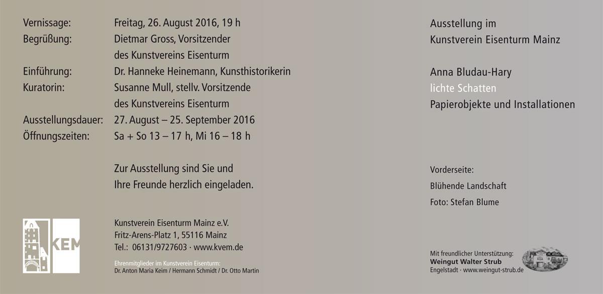 """Anna Bludau-Hary """"Lichte Schatten"""" - Einladung"""
