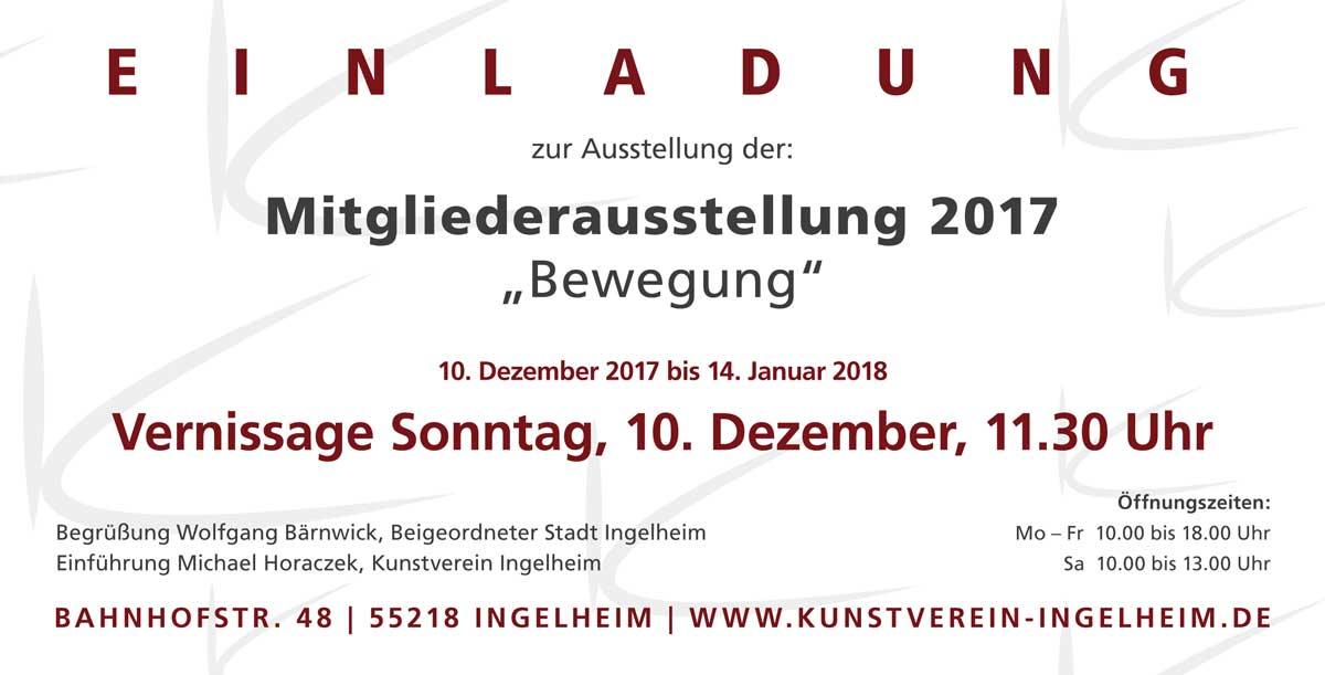 """Einladung Mitgliederausstellung """"Bewegung"""""""