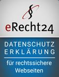 Siegel von eRecht24: Datenschutzerklärung für rechtssicherre Websiten