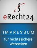 Siegel von eRecht24: Impressum für rechtssicherre Websiten